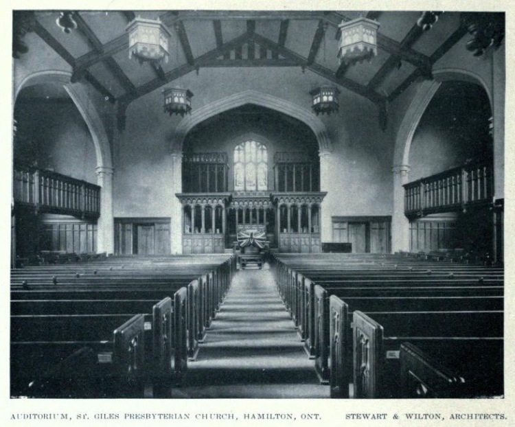 Interior of St. Giles (85 Holton Ave S) early press photo by Stewart & Witton, Hamilton