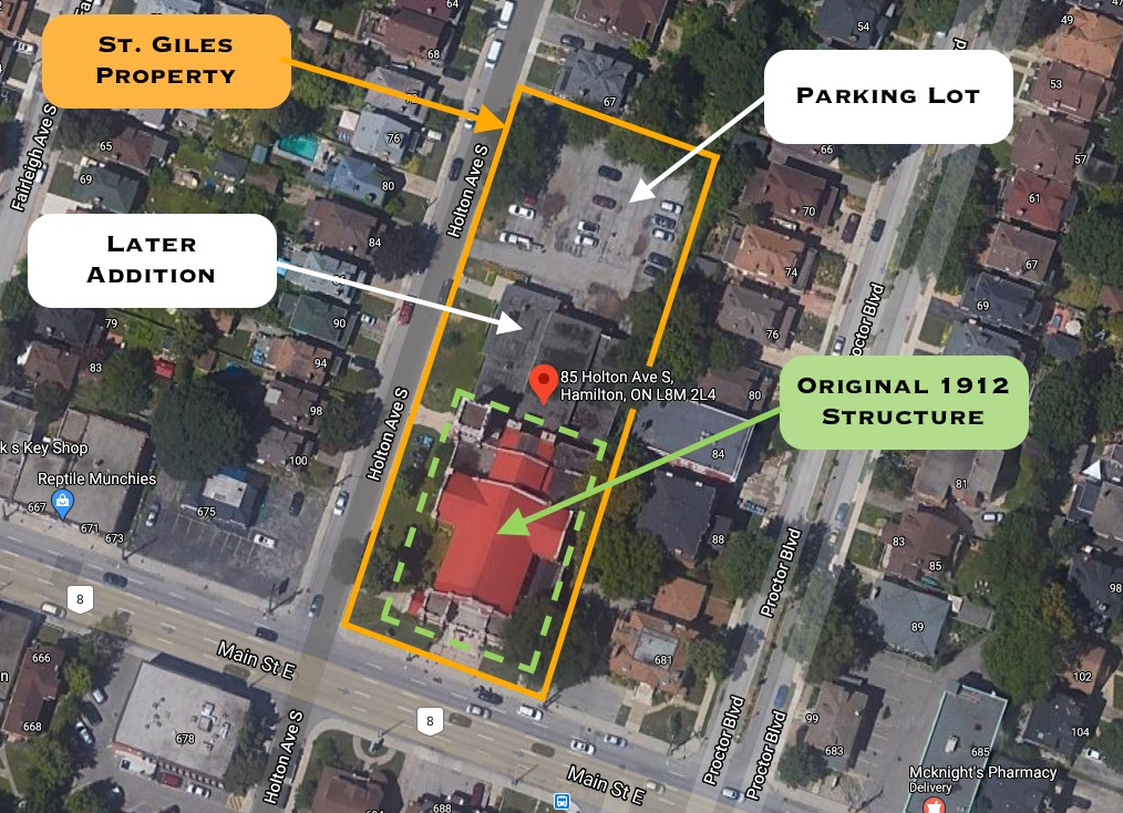Satellite view of St. Giles lot at 85 Holton Ave S at Main Street East, Hamilton