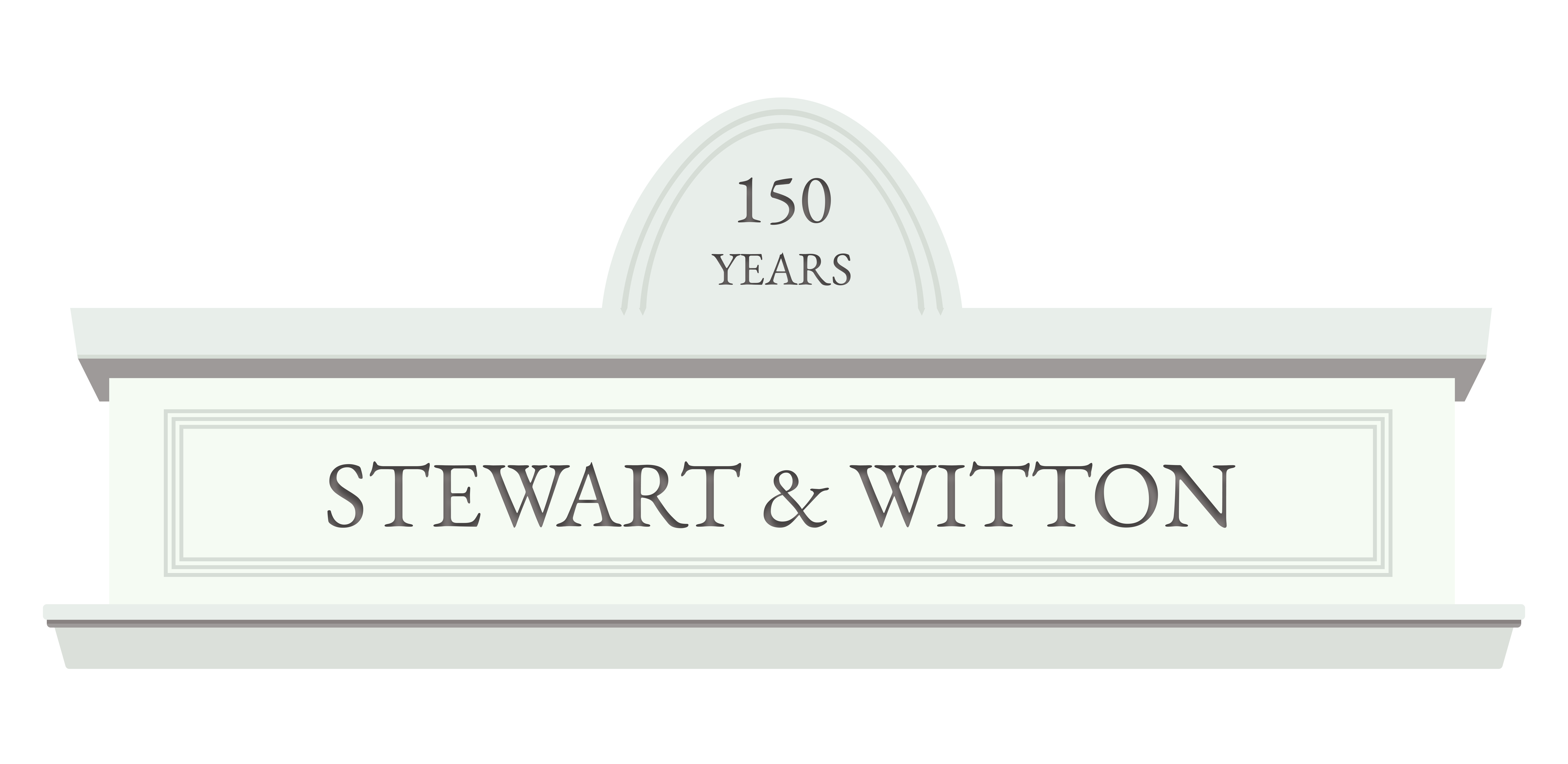 Logo graphic: STEWART & WITTON – 150 years